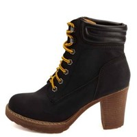 Lace-Up Chunky Heel Work Boots by Charlotte Russe - Black