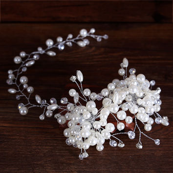 Luxurious Silver Headband Tiara Women Forehead Pearl Crystal Hairband Floral Hair Ornaments Bridal Gifts For Wedding Accessories