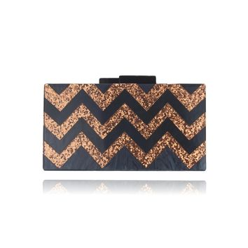 Rose Gold Glitter Black Chevron Acrylic Box Clutch