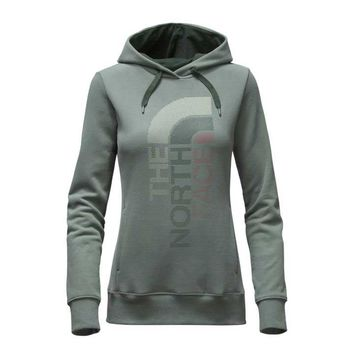 The North Face Trivert Logo Pullover Hoodie for Women in Balsam Green NF00CH2W-LDB