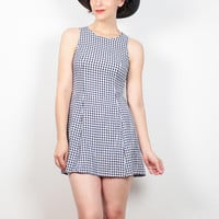 Vintage 90s Grunge Dress Blue White Gingham Plaid Micro Mini Dress 1990s Dress Soft Grunge Dress 90s Dress Kawaii Dress Sundress XS S Small