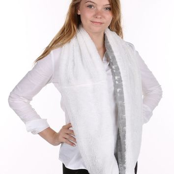 White Soft Fur Laced Infinity Scarf