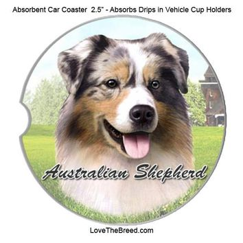 Australian Shepherd Absorbent Car Coaster