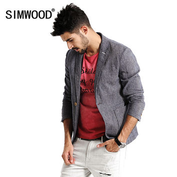 New Spring Casual Blazers Men Fashion Thin  Jacket Linen and Cotton Coats Pure and Nature