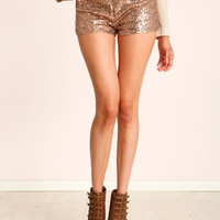 Mid Rise Sequin Shorts