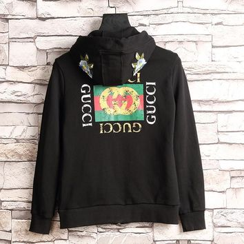 GUCCI Flower Embroidery Hooded Casual Long Sleeve Cardigan Jacket Coat-1
