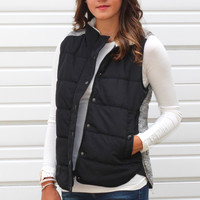 Hitting the Slopes Puffer Vest {Black + Cream}