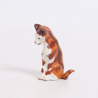Vintage Miniature Cat Cast Metal Kitten Orange Tabby Cat Sculpture Kitty Statue Little Metal Cat
