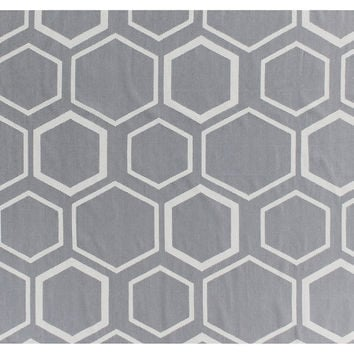 Honeycomb Dhurrie, Gray/Cream, Area Rugs