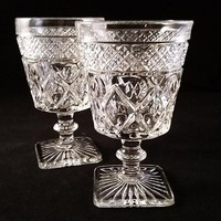 Imperial Cape Cod Goblets Square Base  S/2