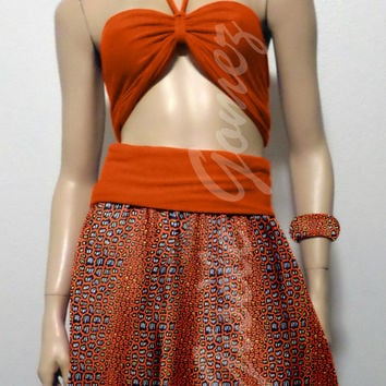 African Midi Dress / Skirt in Holland Wax - Bustier in Lycra - Gbigba-Midi is a Multi-way Dress - Transforms into Skirts - Made in USA