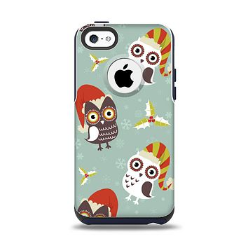 The Abstract Vintage Christmas Owls Apple iPhone 5c Otterbox Commuter Case Skin Set