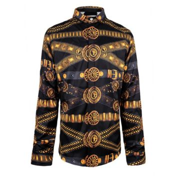 Gold Belts Button Up Shirt