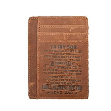 Mom To Son Engraved wallet Card-Bifold-Leather|Brown