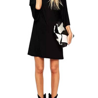 Black T-Shirt Dress with Kimono Sleeves