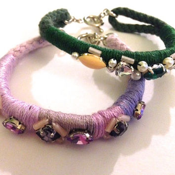 Skinny Lavender or Emerald Crystal Embellished Thread Wrapped Cording Bridesmaids Toggle Closure Friendship Bracelets