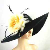 2013 Kentucky Derby Hat Derby Hat Dress Hat Wide brim Hat Yellow-orange flower Women's Dress Hat Wedding Tea Party Ascot  Horse Race
