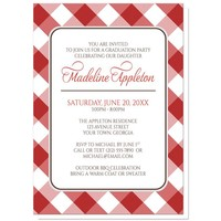 Red and White Gingham Graduation Invitations