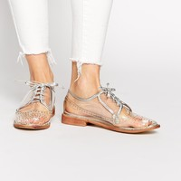 Daisy Street Clear Brogue Flat Shoes