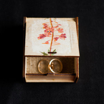 "READY to SHIP - Rustic style engagement box with botanical picture ""Wild Flowers X"" - wedding decor, rustic style, botanical, wedding box"