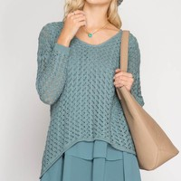 Slate Chiffon Layered Sweater Tunic