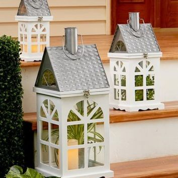Wooden & Metal House Lantern Display LED Candle Plants String Lights Home Decor
