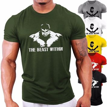 New Arrival Men Workout Gym Silm T-shirt Bodybuilding Christmas Gift Fittness Cotton Casual Printing Shirt