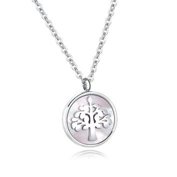 LASPERAL 1PC Stainless Steel Round Life Tree Pendant Necklace High Quality Fashion Necklaces For Women Men Jewelry Fit Love Gift