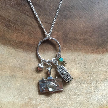 Traveler Charm Necklace, Winnebago Necklace, Photography Traveler Necklace, Photography Gift, Womens Necklace