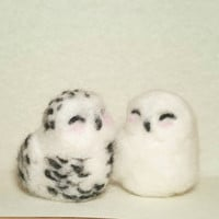 Snowy Owls, love owls, valentine's day needle felted sculpture