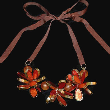 Autumn Orange Flower Necklace, 3 Dimensional