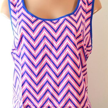Women's Sleeveless Chevron print tank Plus Size Top By Mine Too