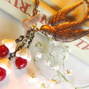 Vintage Swallow Charm Necklace  -Amber Czech Glass Beads-Cream cone Beads-Brown Suede Ribbon-Lovely Gift  4tasteofshabbychic