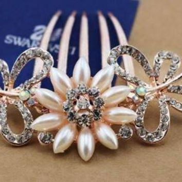 Gardenia Pearl Flower and Crystal Butterfly Gold Plated Hair Comb