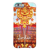 Vintage retro carousel gold face photo custom name barely there iPhone 6 case