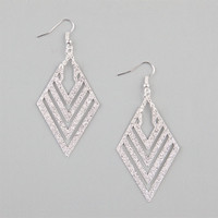 Full Tilt Diamond Dust Chevron Earrings Silver One Size For Women 23473114001