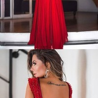 Sexy Red Prom Dress A-Line Backless Deep V-neck Beads Sleeveless Chiffon Formal Gowns D6893