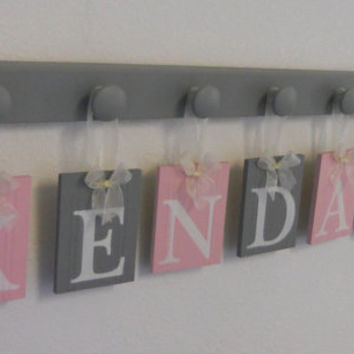 Pink and Gray Wooden Baby Nursery Wall Letters Sign, Name KENDALL and 7 Pegs Board, Grey