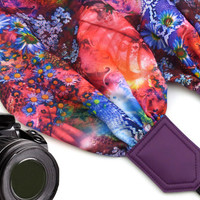 Floral scarf camera strap. DSLR / SLR Camera Strap. Photo Camera accessories. Colorful camera strap with flowers pattern.