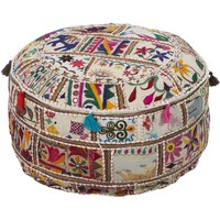 Geometric Acle Round Cotton 22-inch Pouf   Overstock.com Shopping - The Best Deals on Throw Pillows
