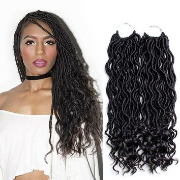 VRUnique 6 Packs 20 Inch 1B# Goddess Locs Faux Locs Crochet Hair Wavy With Curly Ends Twist Goddess Faux Locs Soft Synthetic Braiding Hair Extension
