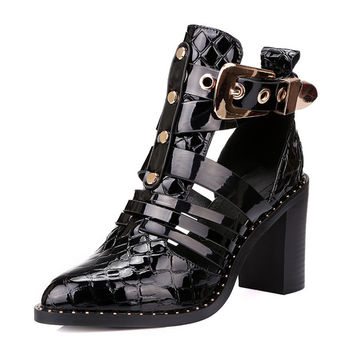 Genuine Leather Ankle Boots For Women Summer Shoes With Rivets 2016 High Heels Sandals Patent Leather Summer Ankle Boots Shoe