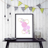 Pink Print Rose and Copper Wall Art Geometric Print Honeycomb Art Hexagon Poster Scandinavian Print Pink Copper Home Decor *152*