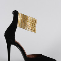 Shoe Republic LA Gold Cuff Pointy Toe Pump