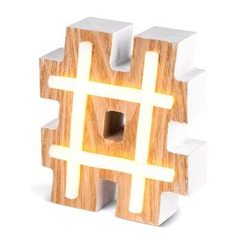 LED Neon Style Lighted Hashtag Wood Block - Battery Operated