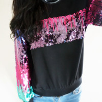 Black Sequined Sweater
