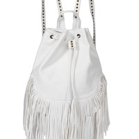 Road Trippin' Hippie White Fringe Backpack