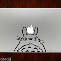 Ghibli Totoro Peeking Humor Mac Decals Stickers For Macbook 13 Pro Air Decal
