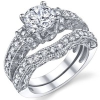 1.25 Carat Solid Sterling Silver Wedding Engagement Ring Set, Bridal Ring, with Cubic Zirconia CZ Size 7