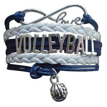 Girls Volleyball Infinity Bracelet- Navy